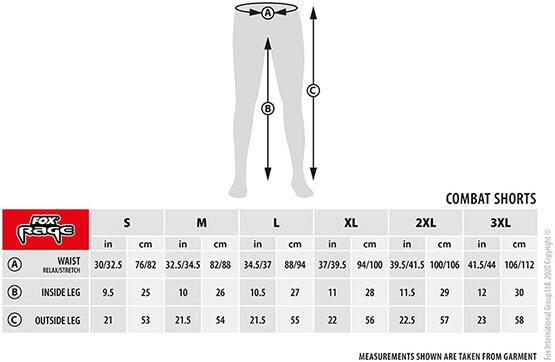 Fox Rage Lightweight Shorts Größentabelle