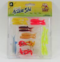 Behr Softbait-Set 14 soft fish baits with lead head hooks
