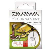 Daiwa Tournament Snelled Worm Hooks 60cm 10pcs.