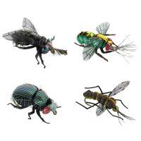 Jenzi Insektenimitate XL 4Stk. Fliege Goldfliege Käfer Mücke