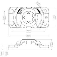 Railblaza Starport HD Halterung rechteckig schwarz 100x52mm